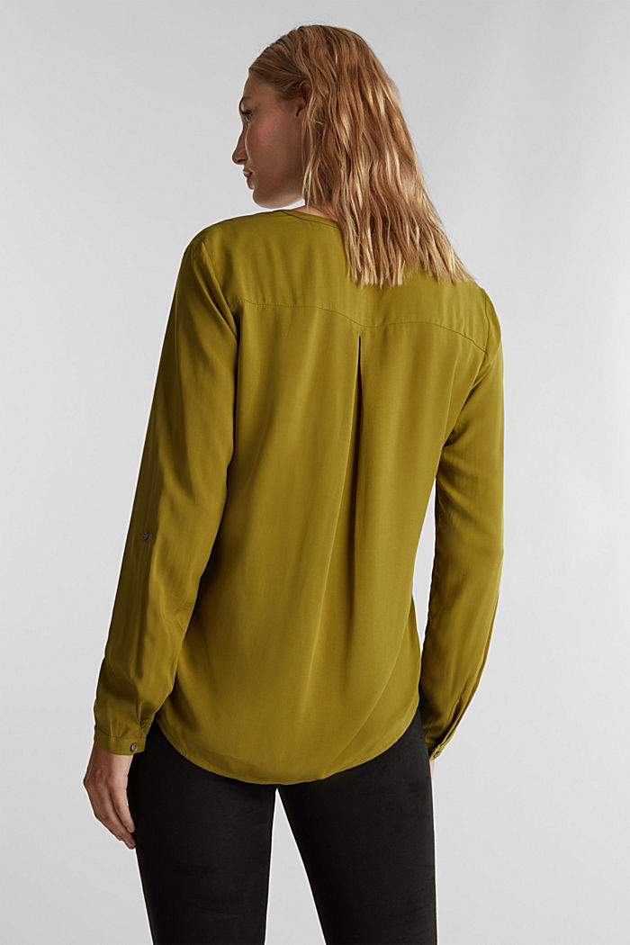 Henley blouse made of LENZING™ ECOVERO™, OLIVE, detail image number 3