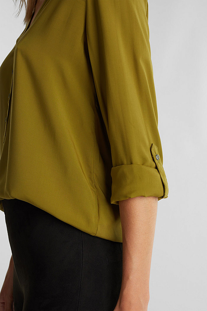 Henley blouse made of LENZING™ ECOVERO™, OLIVE, detail image number 2