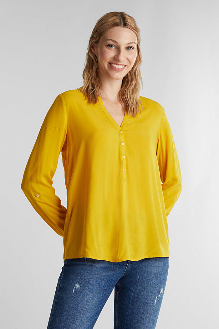 Henley blouse made of LENZING™ ECOVERO™, BRASS YELLOW, detail image number 0