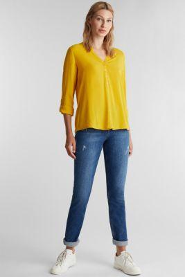 Henley blouse made of LENZING™ ECOVERO™, BRASS YELLOW, detail