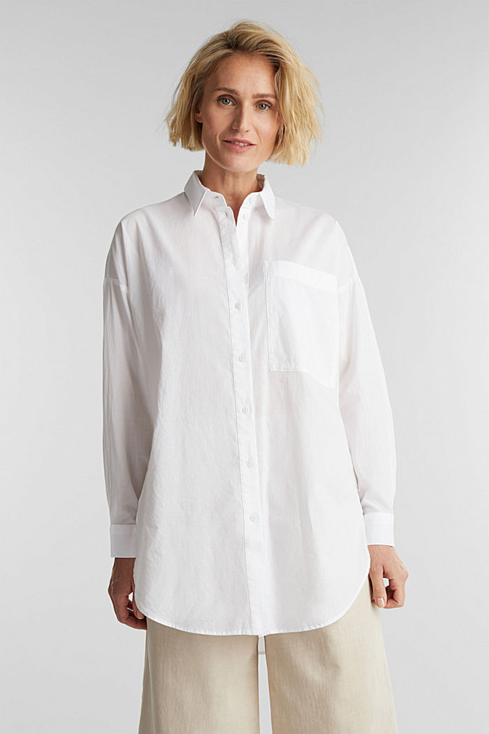 Long blouse in 100% organic cotton, WHITE, detail image number 0