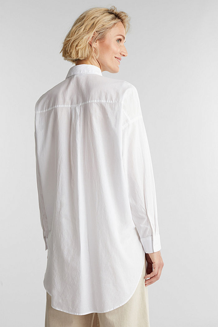 Long blouse in 100% organic cotton, WHITE, detail image number 3
