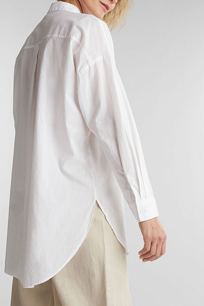 Long blouse in 100% organic cotton, WHITE, detail image number 2