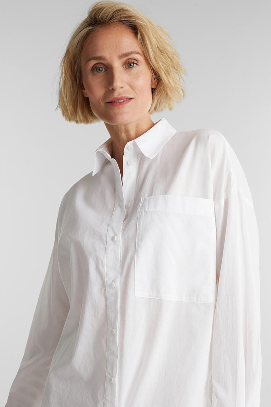 Long blouse in 100% organic cotton