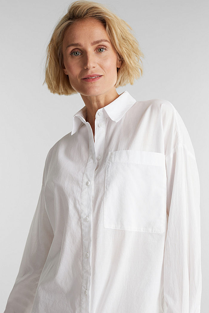 Long blouse in 100% organic cotton, WHITE, detail image number 5