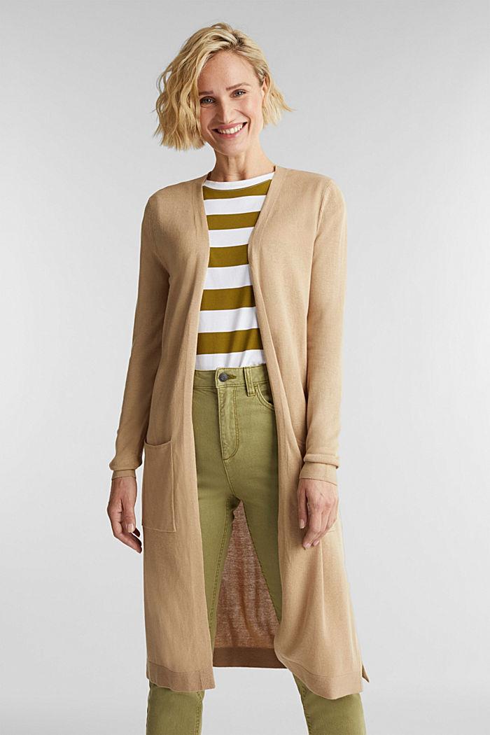 Linen blend: long, open-fronted cardigan, BEIGE, detail image number 0