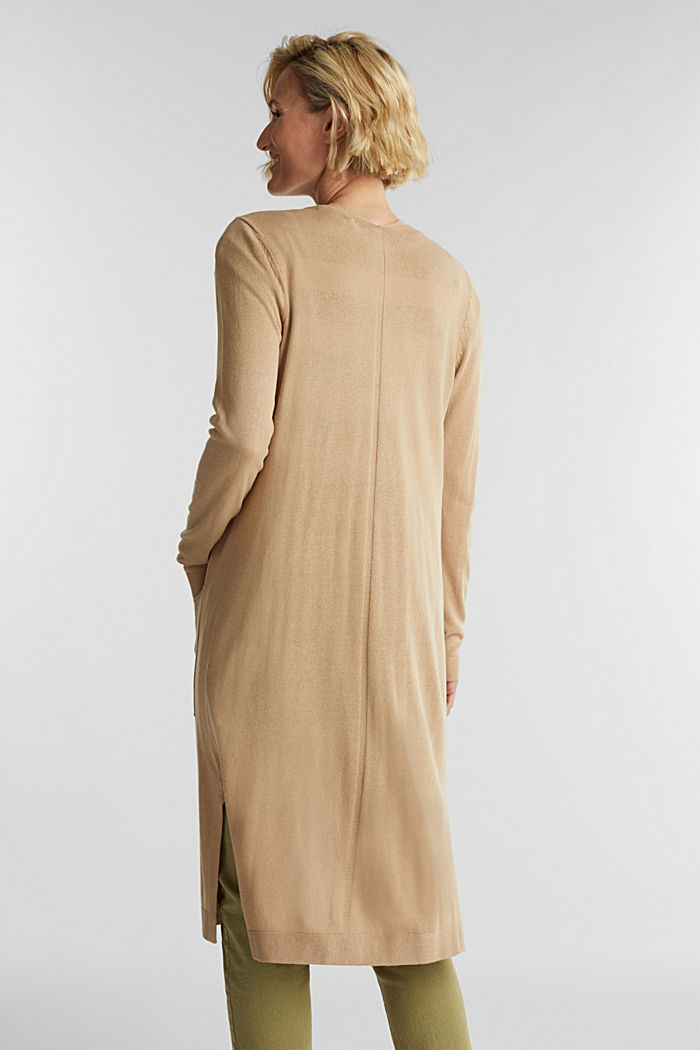 Linen blend: long, open-fronted cardigan, BEIGE, detail image number 3