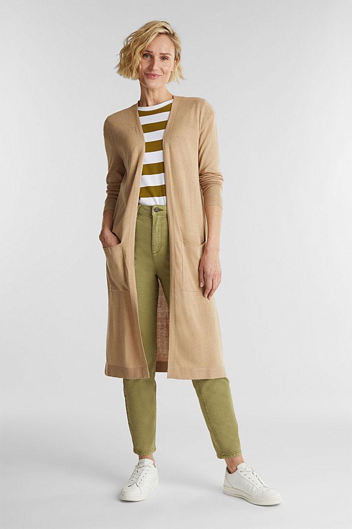 Linen blend: long, open-fronted cardigan, BEIGE, detail image number 1