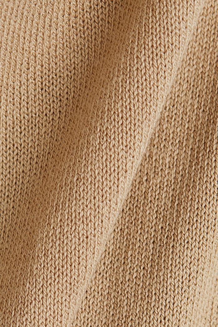 Linen blend: long, open-fronted cardigan, BEIGE, detail image number 4