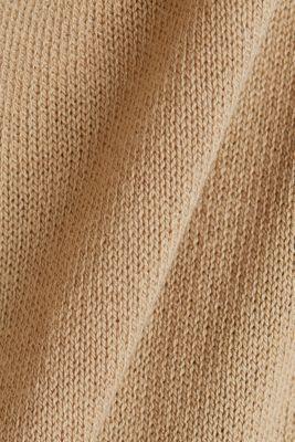 Linen blend: long, open-fronted cardigan, BEIGE, detail