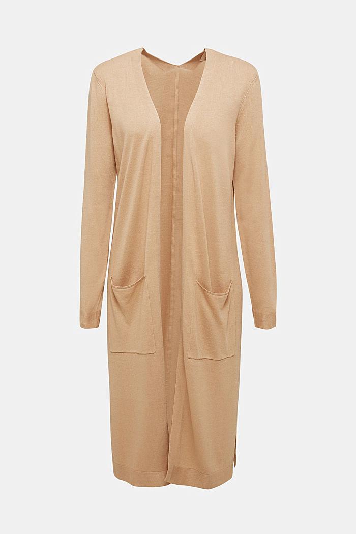 Linen blend: long, open-fronted cardigan, BEIGE, detail image number 6