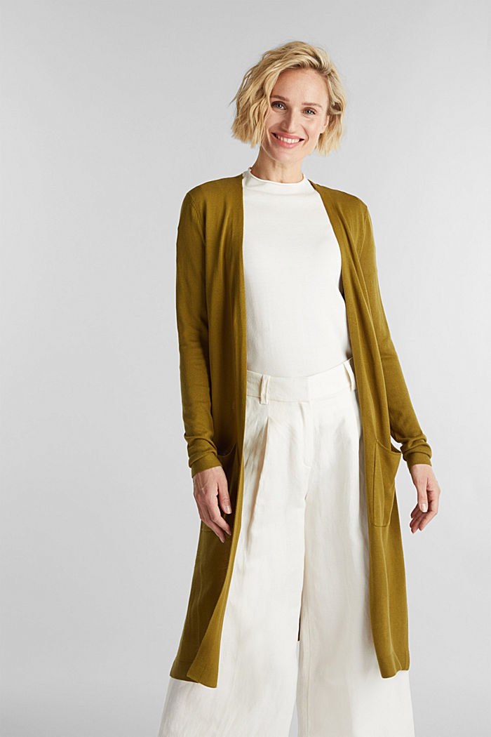 Linen blend: long, open-fronted cardigan, OLIVE, detail image number 0