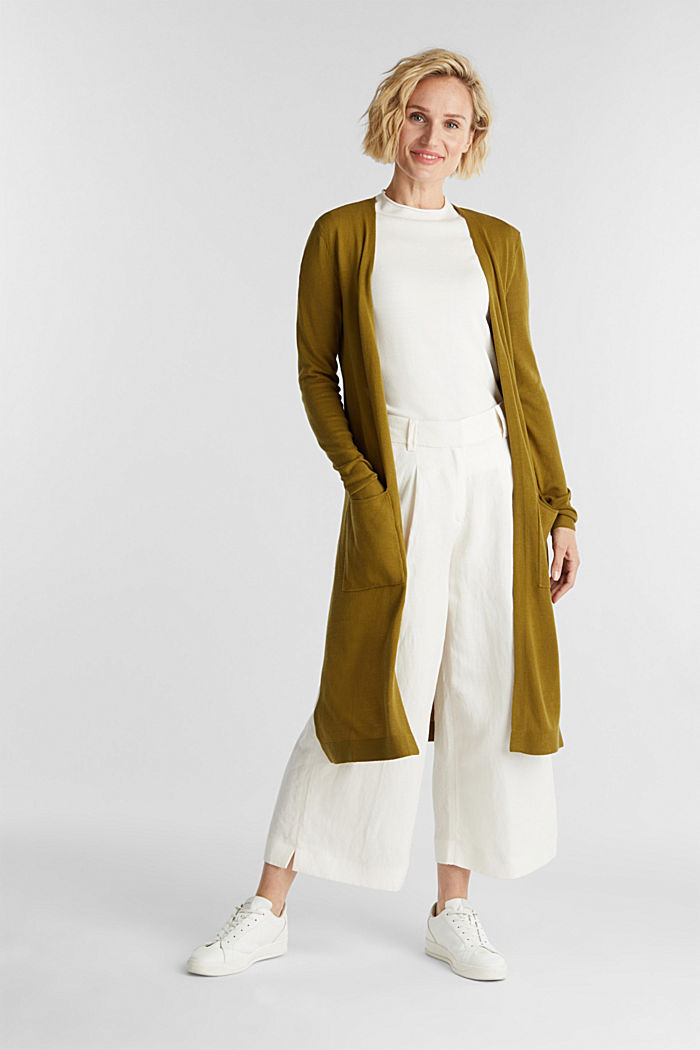 Linen blend: long, open-fronted cardigan