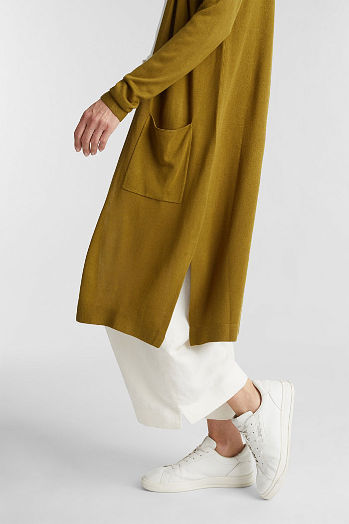 Linen blend: long, open-fronted cardigan, OLIVE, detail image number 2