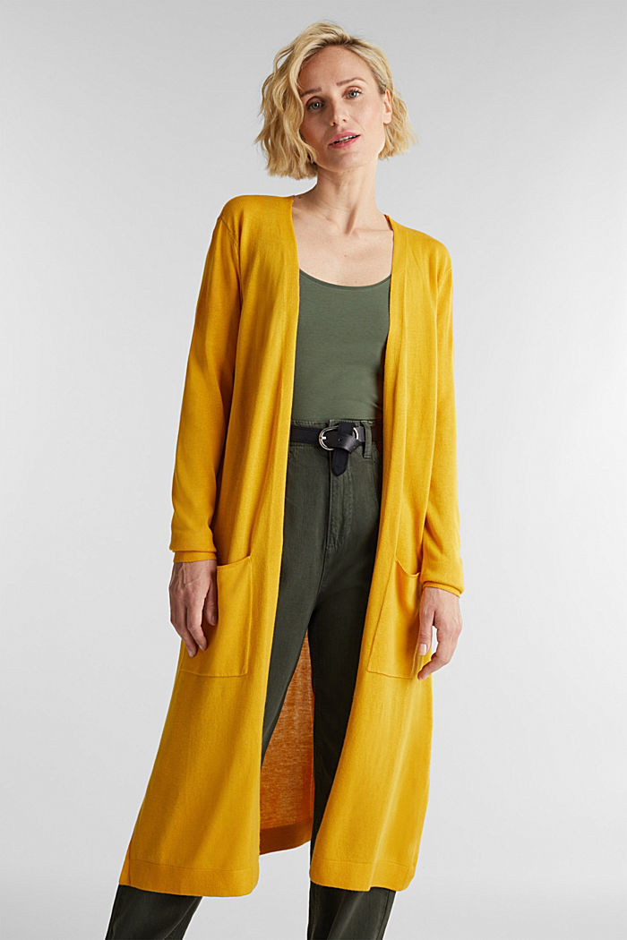 Linen blend: long, open-fronted cardigan, BRASS YELLOW, detail image number 0