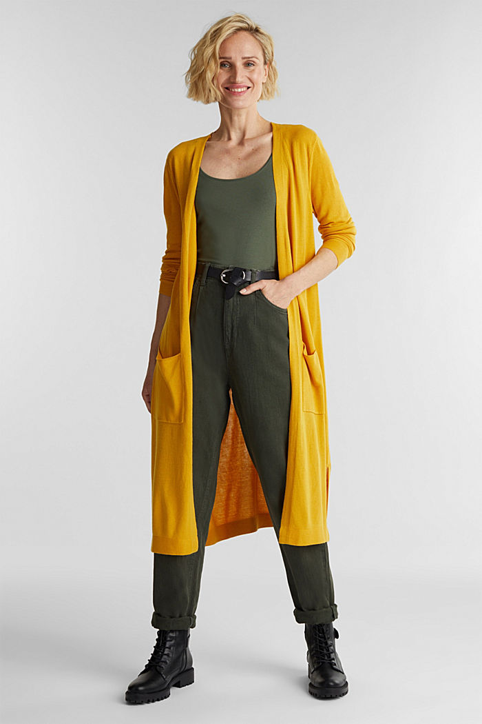 Linen blend: long, open-fronted cardigan, BRASS YELLOW, detail image number 1