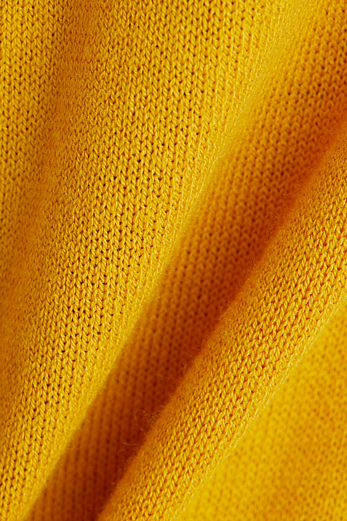Linen blend: long, open-fronted cardigan, BRASS YELLOW, detail image number 4