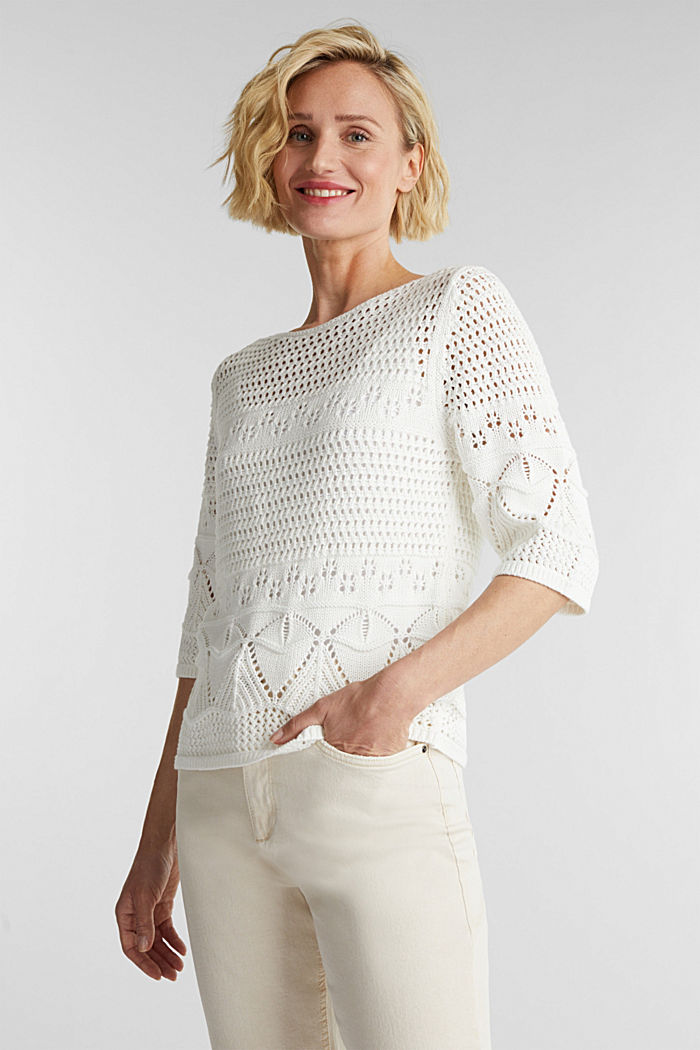Crocheted jumper made of 100% organic cotton, OFF WHITE, detail image number 0