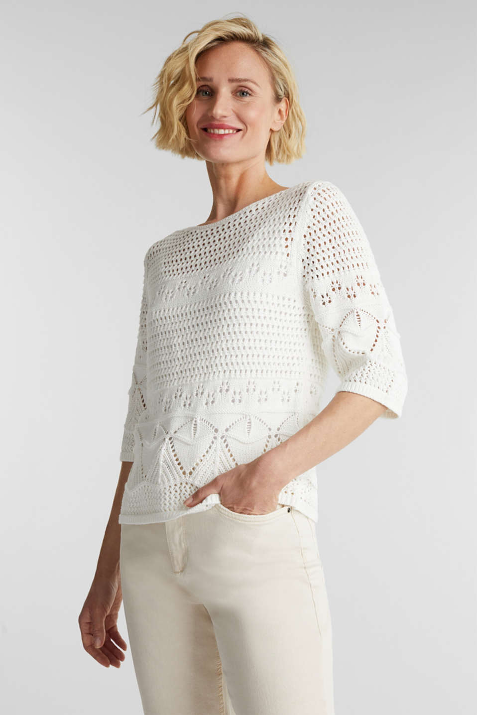 Esprit - Crocheted jumper made of 100% organic cotton