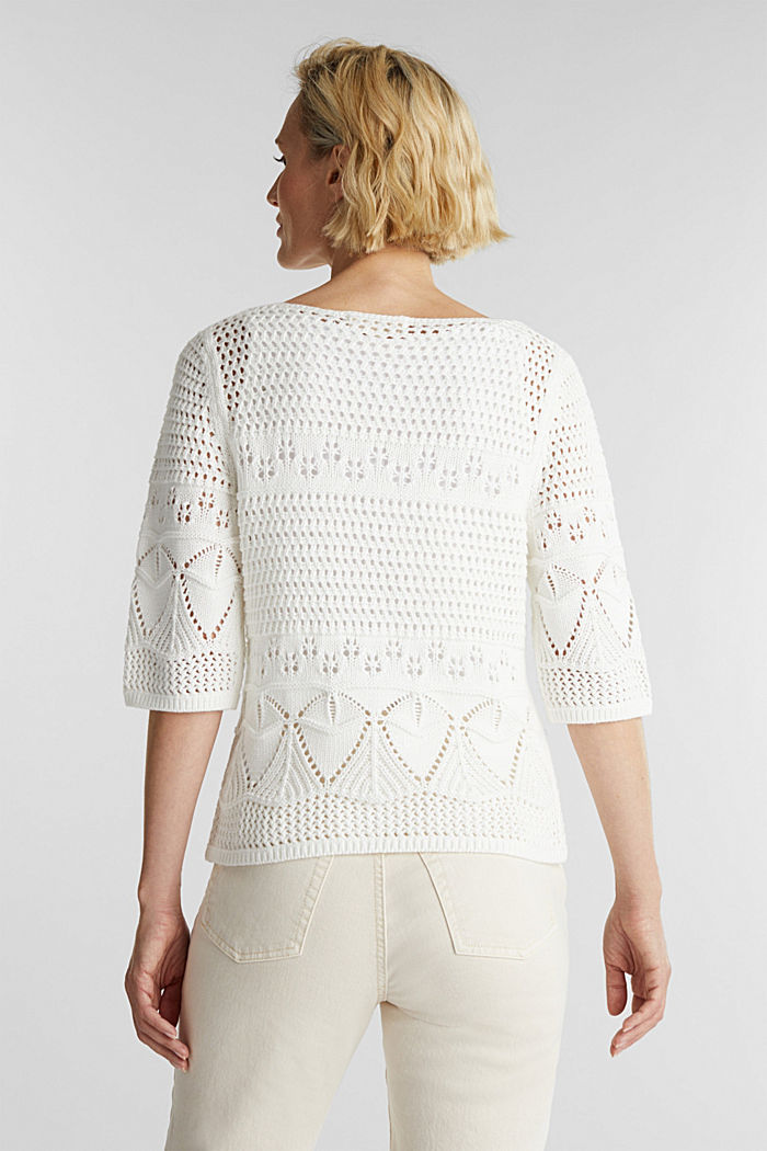Crocheted jumper made of 100% organic cotton, OFF WHITE, detail image number 3