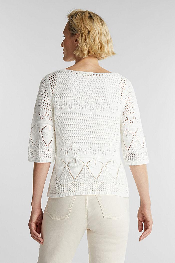 Häkel-Pullover aus 100% Organic Cotton, OFF WHITE, detail image number 3