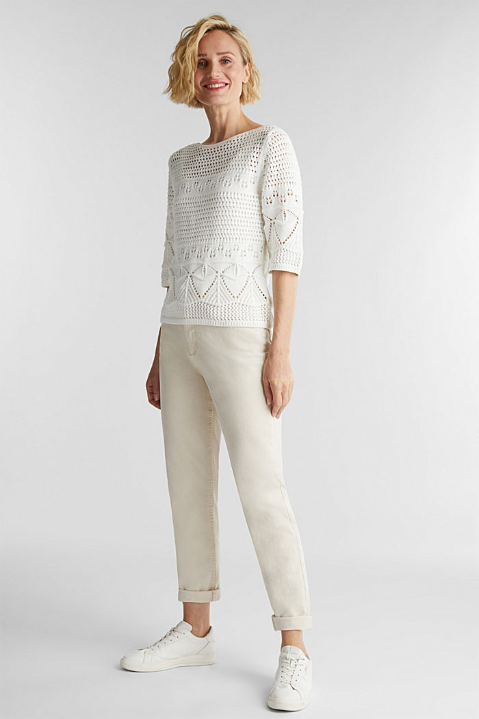 Häkel-Pullover aus 100% Organic Cotton, OFF WHITE, detail image number 1