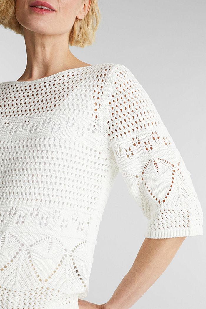 Häkel-Pullover aus 100% Organic Cotton, OFF WHITE, detail image number 2