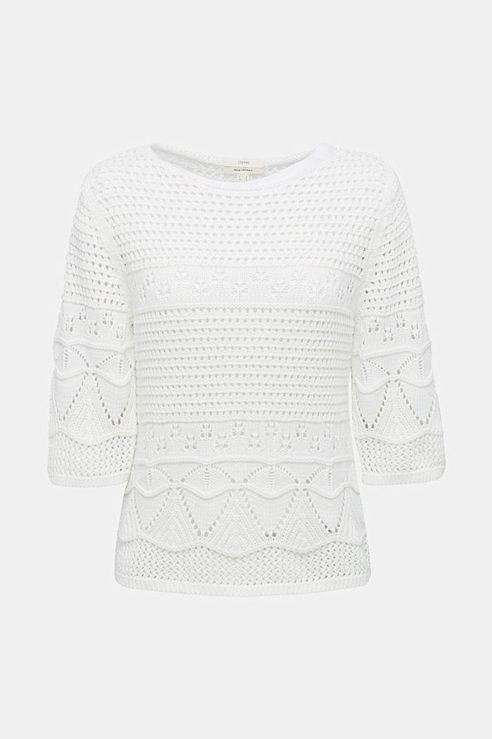 Häkel-Pullover aus 100% Organic Cotton, OFF WHITE, detail image number 5