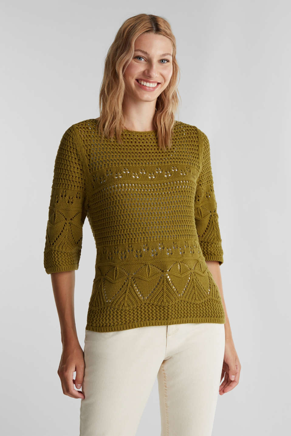 Crocheted jumper made of 100% organic cotton, OLIVE, detail image number 0