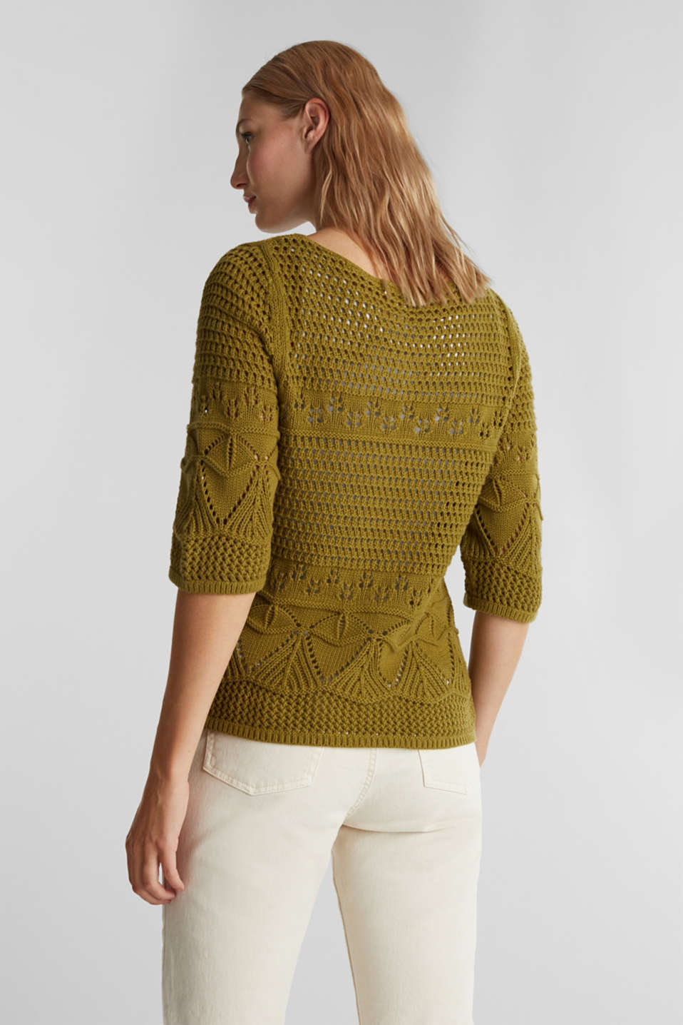Crocheted jumper made of 100% organic cotton, OLIVE, detail image number 3