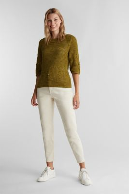 Crocheted jumper made of 100% organic cotton, OLIVE, detail