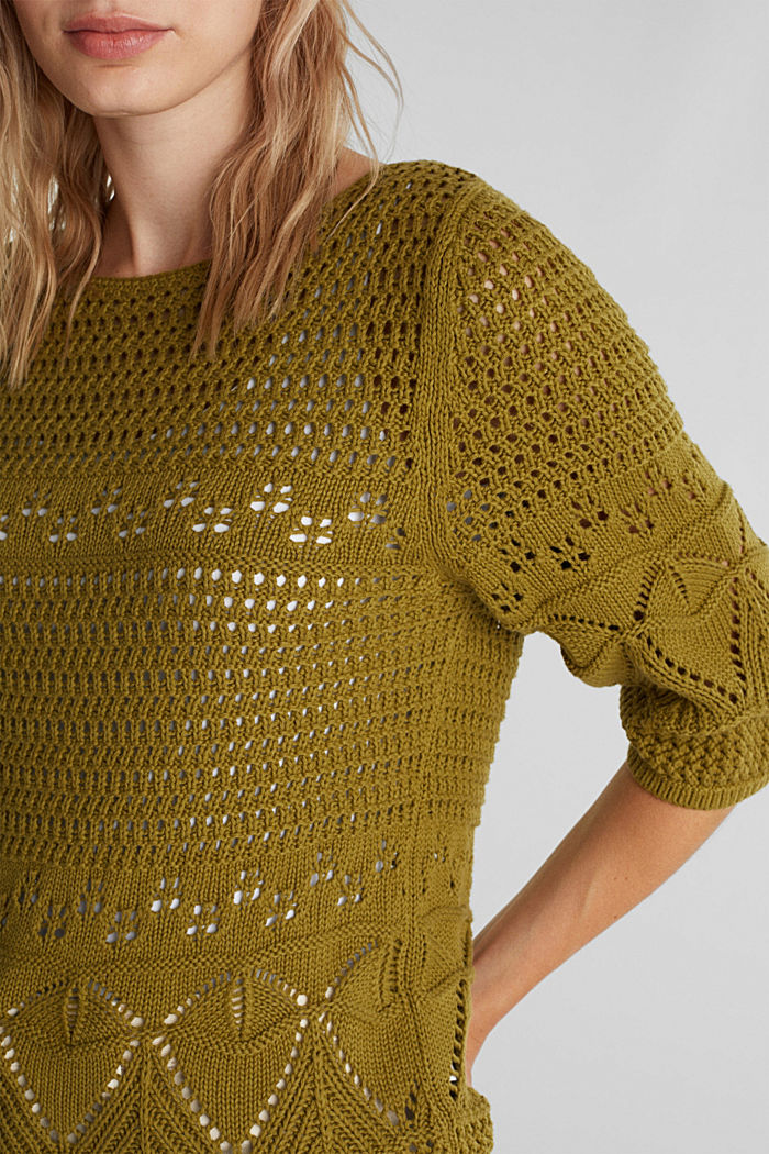 Crocheted jumper made of 100% organic cotton, OLIVE, detail image number 2