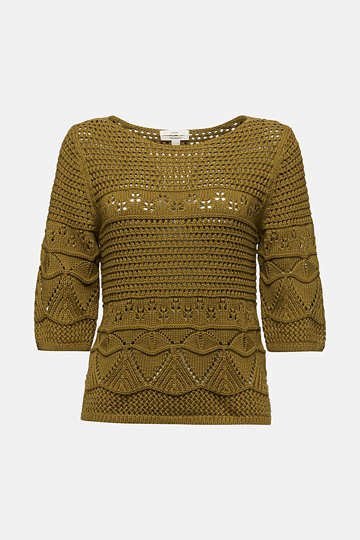 Crocheted jumper made of 100% organic cotton, OLIVE, detail image number 6