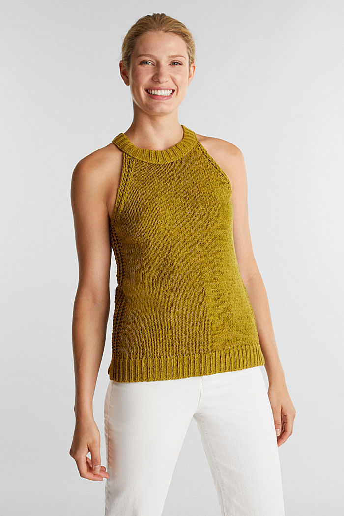 Sleeveless knitted top in ribbon yarn, OLIVE, detail image number 0