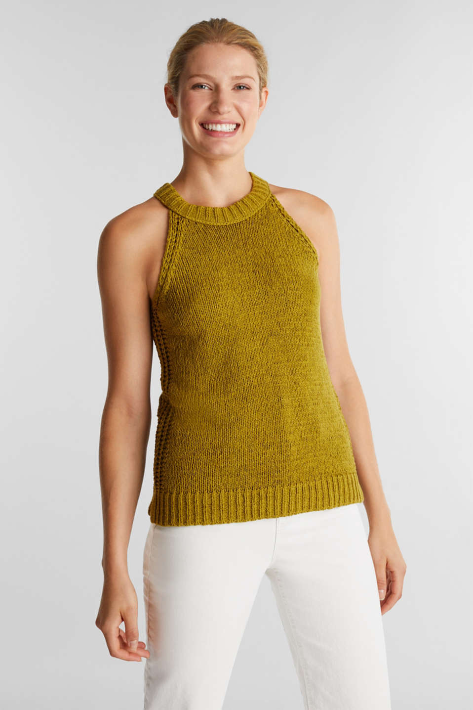 Esprit - Sleeveless knitted top in ribbon yarn