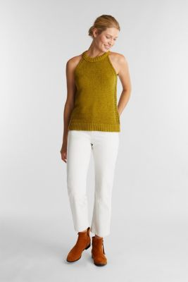 Sleeveless knitted top in ribbon yarn, OLIVE, detail