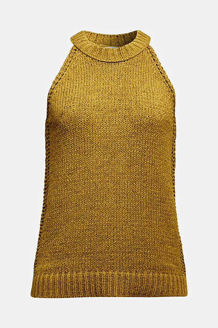Sleeveless knitted top in ribbon yarn, OLIVE, detail image number 5