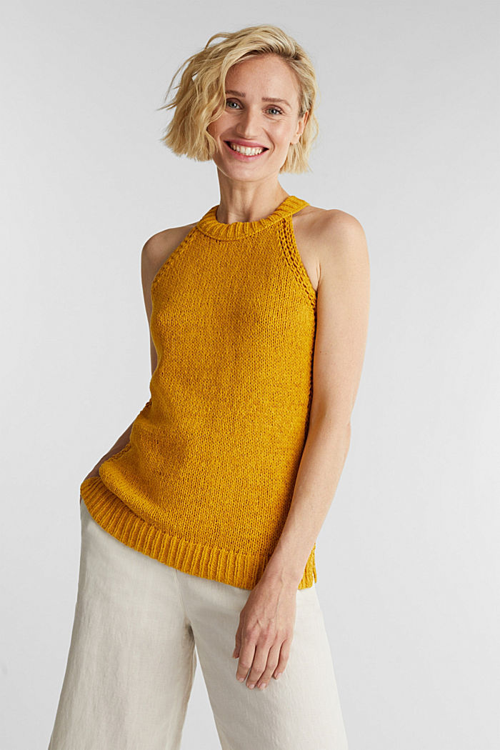 Sleeveless knitted top in ribbon yarn, BRASS YELLOW, detail image number 0