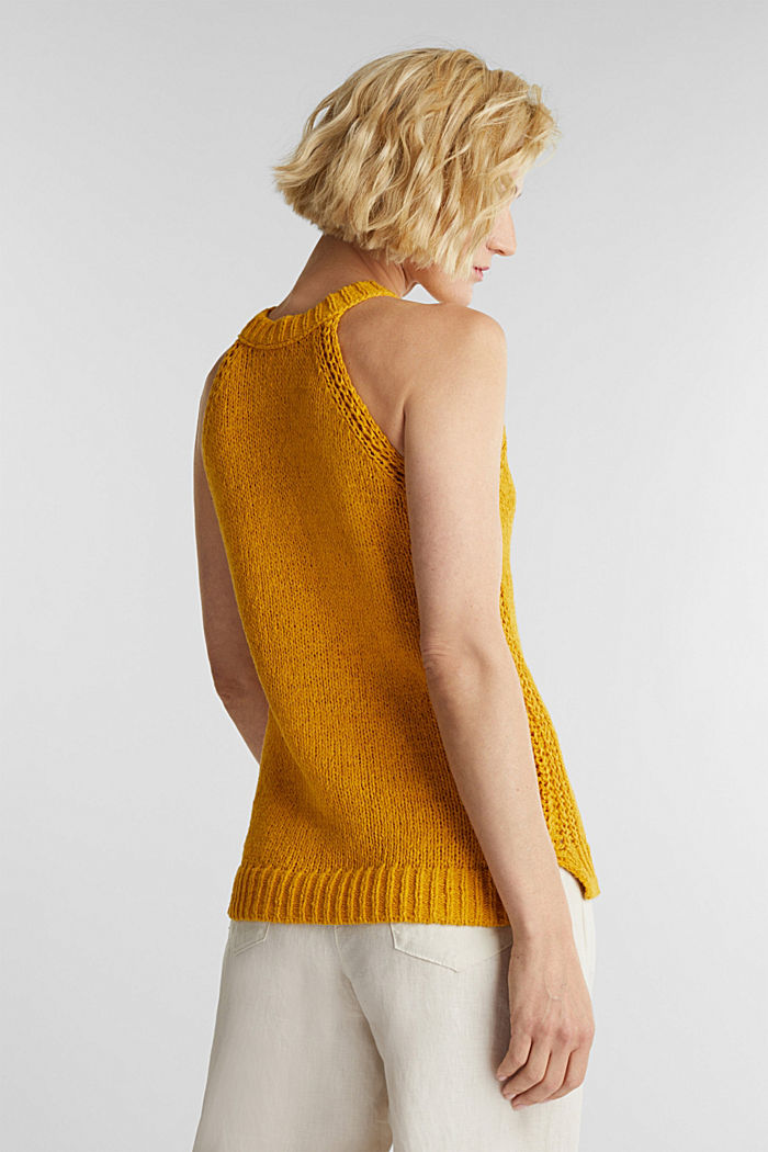 Sleeveless knitted top in ribbon yarn, BRASS YELLOW, detail image number 3