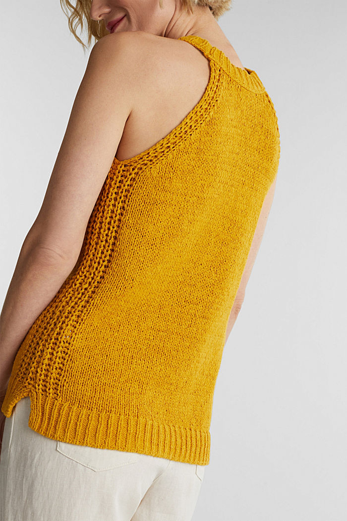 Sleeveless knitted top in ribbon yarn, BRASS YELLOW, detail image number 2