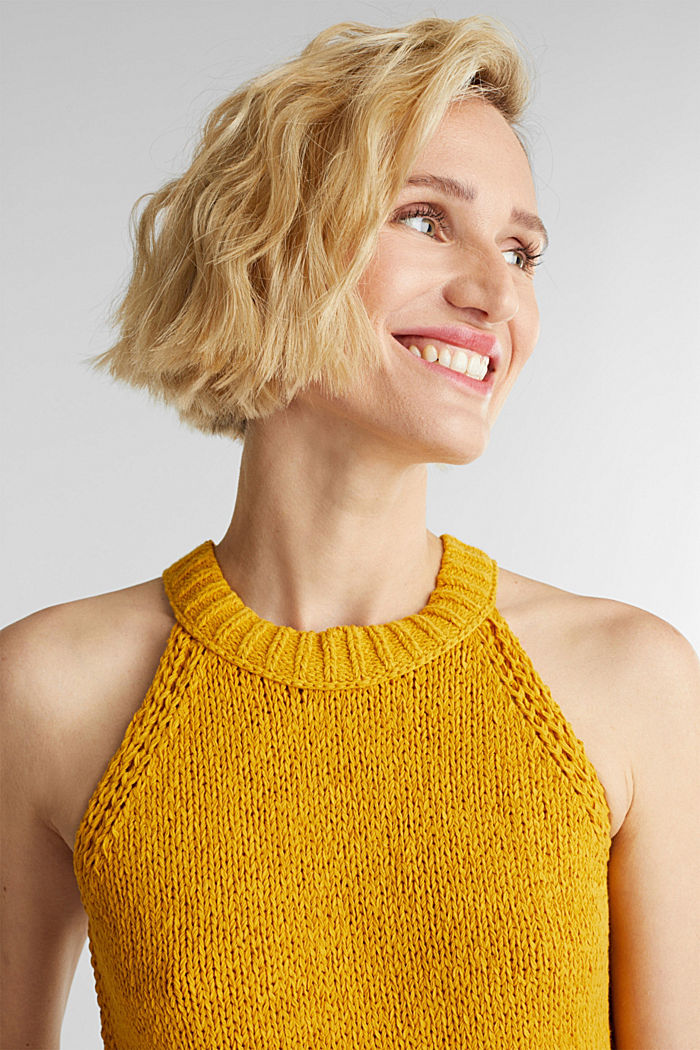Sleeveless knitted top in ribbon yarn, BRASS YELLOW, detail image number 5