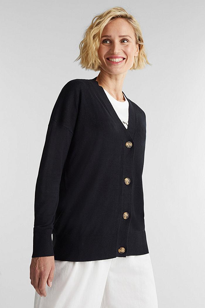 Linen blend: fine knit cardigan, BLACK, detail image number 0