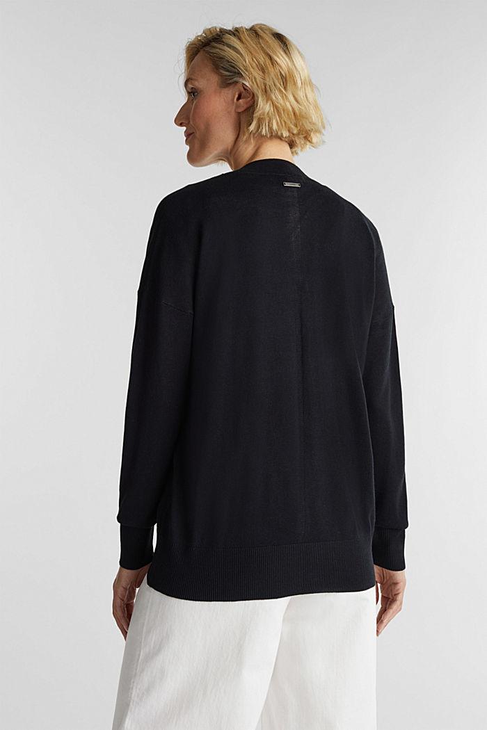 Linen blend: fine knit cardigan, BLACK, detail image number 2