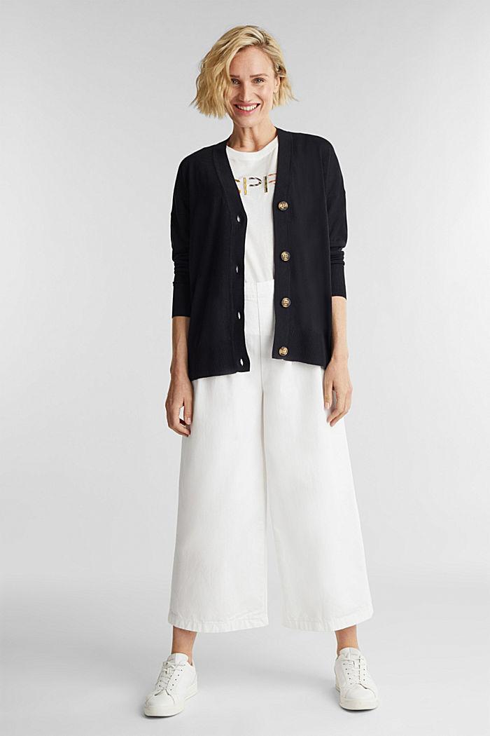 Linen blend: fine knit cardigan, BLACK, detail image number 1