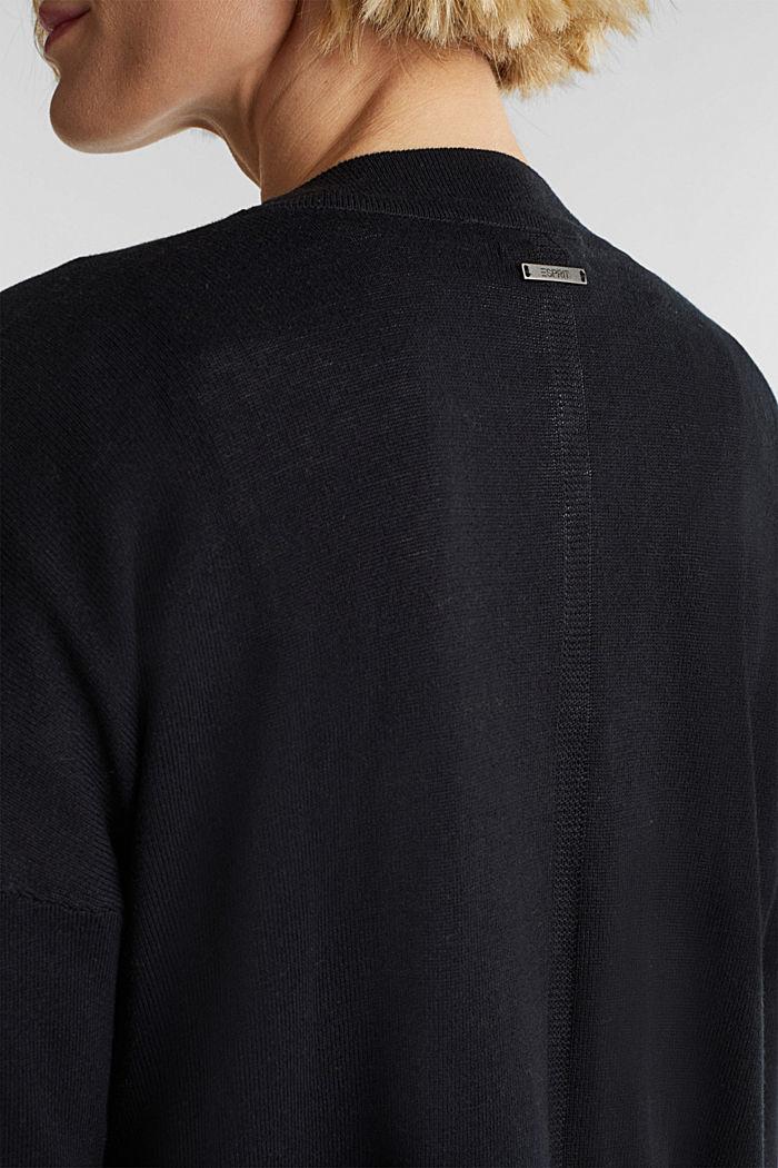 Linen blend: fine knit cardigan, BLACK, detail image number 4