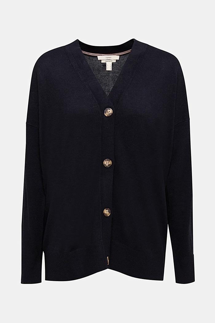 Linen blend: fine knit cardigan, BLACK, detail image number 6
