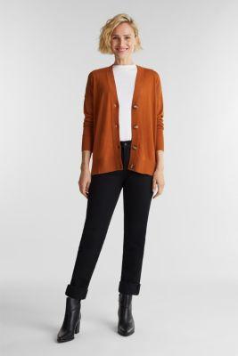 Linen blend: fine knit cardigan, RUST BROWN, detail