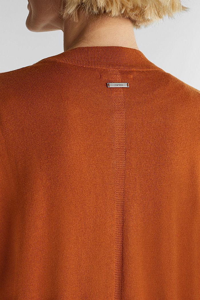 À teneur en lin: le cardigan en fine maille, RUST BROWN, detail image number 2