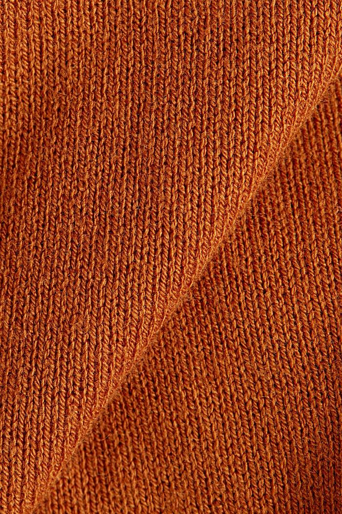 Mit Leinen: Cardigan aus Feinstrick, RUST BROWN, detail image number 4