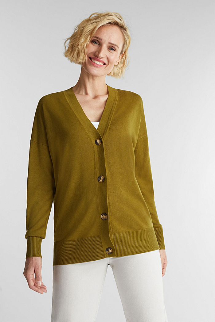 Linen blend: fine knit cardigan, OLIVE, detail image number 0